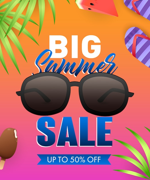Big summer sale lettering with sunglasses and tropical leaves Free Vector