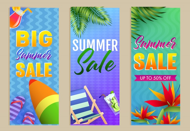Big summer sale letterings set, chaise longue and surfboard Free Vector