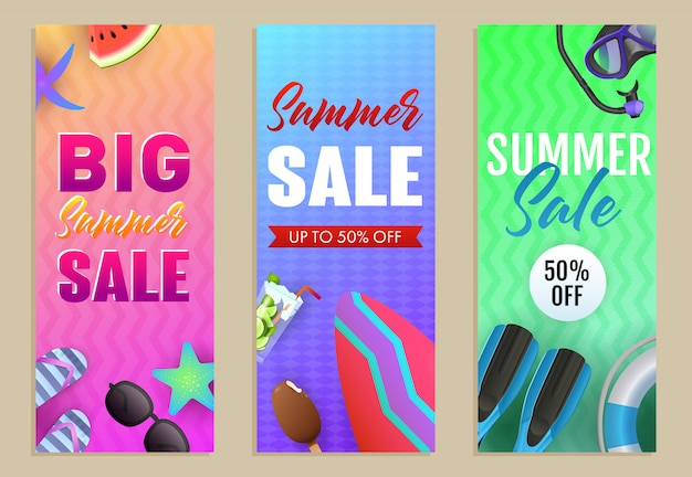 Big summer sale letterings set with surfboard and scuba mask Free Vector