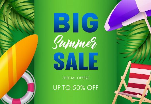 Big summer sale poster design. lifebuoy, surfboard Free Vector