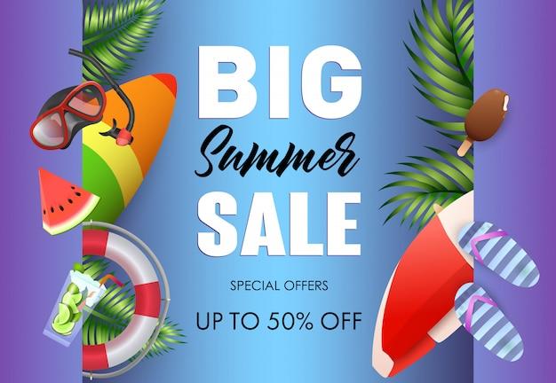 Big summer sale poster design Free Vector