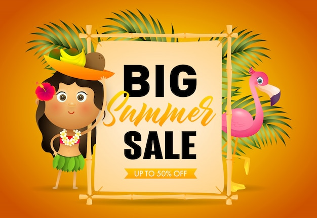 Big summer sale retail poster. signboard Free Vector