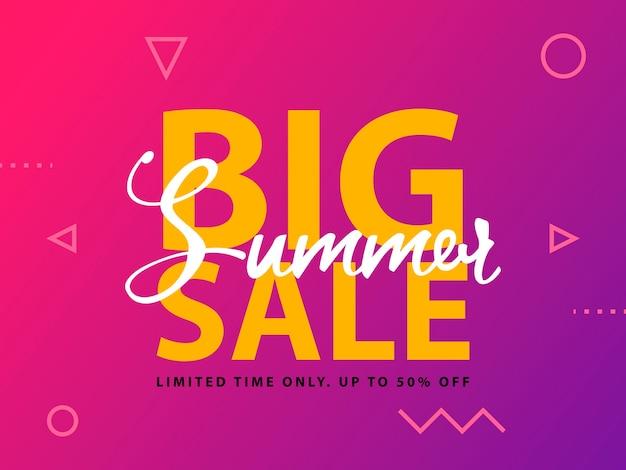 Big summer sale sign with ultraviolet background.  web banner template illustration. Premium Vector
