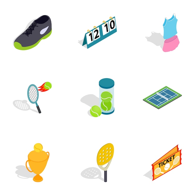 Big tennis icons, isometric 3d style Premium Vector