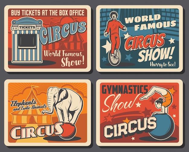 Big top circus funfair festival vintage posters Premium Vector