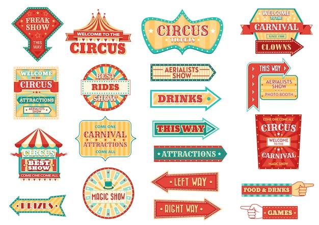 Большой цирк показывает ретро вывески, светящиеся стрелки. Premium векторы