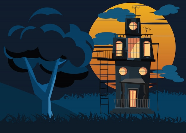 Big tree and spooky house vector illustration Premium Vector