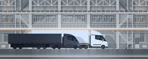 Big truck trailers in industrial warehouse container delivery shipping cargo concept Premium Vector