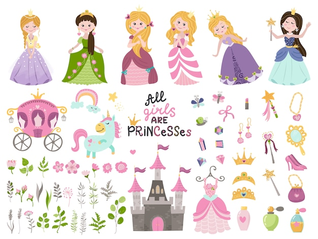 Big vector set of beautiful princesses, castle, carriage and accessories. Premium Vector