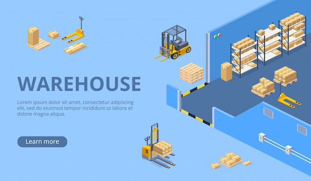 Big warehouse isometric web page template Free Vector