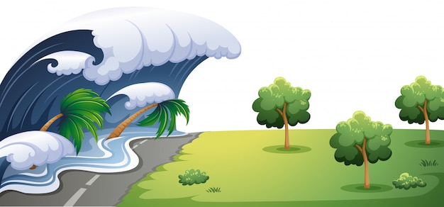 Big wave hit the road Free Vector
