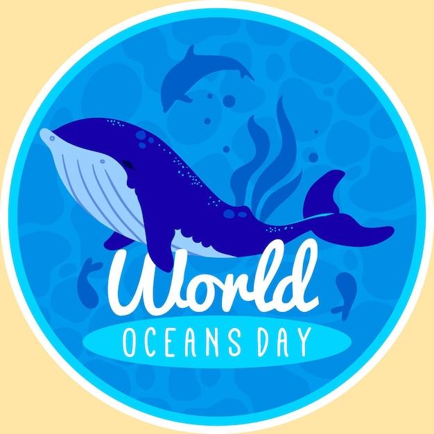 Большой кит плоский мир океанов день Premium векторы