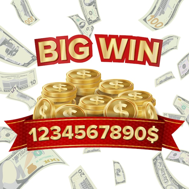 Big win banner for online casino Premium Vector