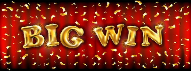 Big win banner with golden balloons illuminated by spotlights with confetti Premium Vector