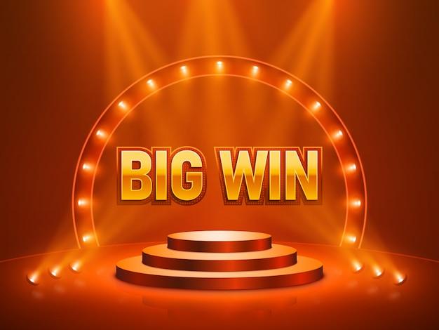 Большой выигрыш казино баннер для текста. векторная иллюстрация Premium векторы