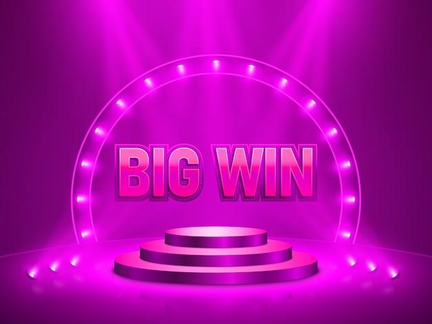 Big win casino banner for text. Premium Vector