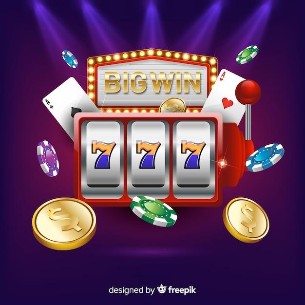 Игровой автомат big win concept в реалистичном стиле Бесплатные векторы