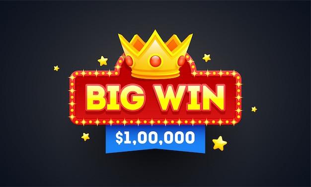 Big win emblem or badge design with winning prize value. Premium Vector