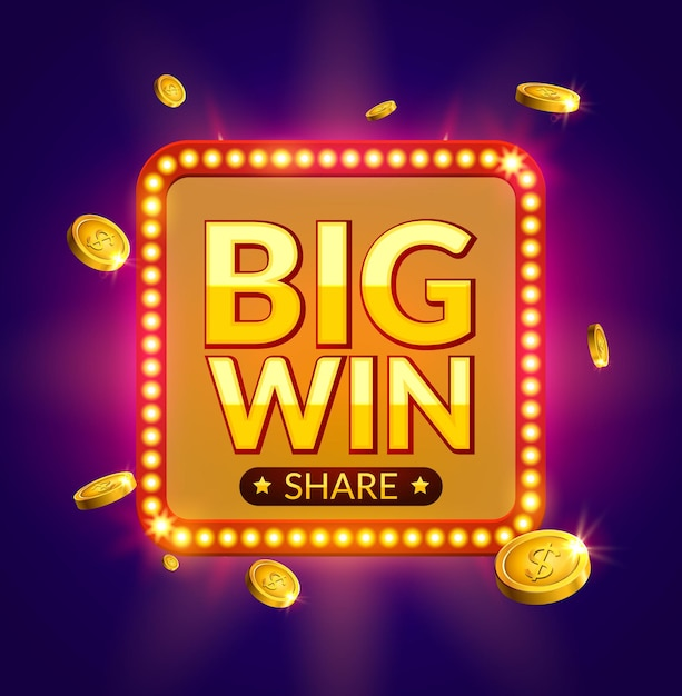 Big win glowing retro banner for online casino, slot, card games, poker or roulette. jackpot prize design with coins background. winner sign. Premium Vector