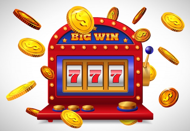 Big win lettering, lucky seven slot machine and flying golden coins. Free Vector