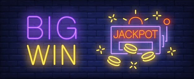 Big win neon sign jackpot inscription and slot machine on brick wall background 1262 13372