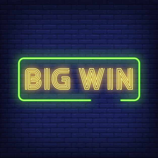 Big win neon text in frame Free Vector