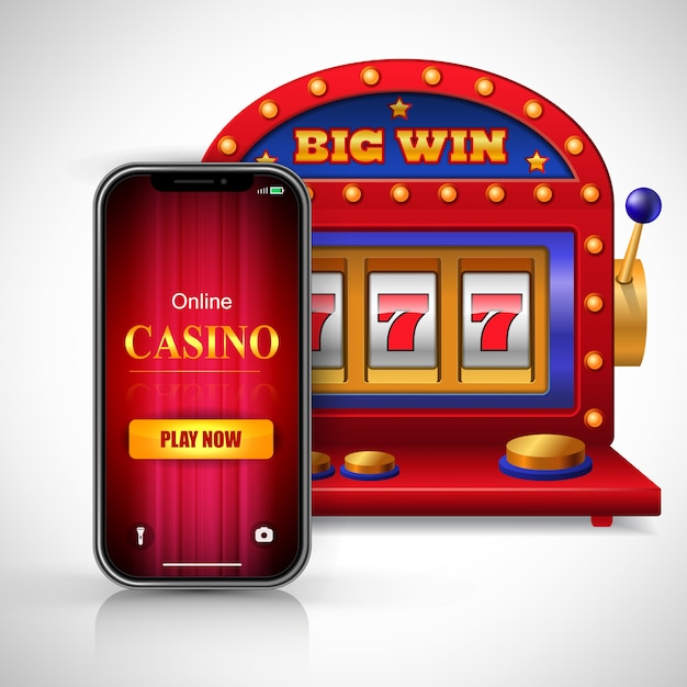 Big win online casino play now lettering on smartphone screen and slot machine. Free Vector