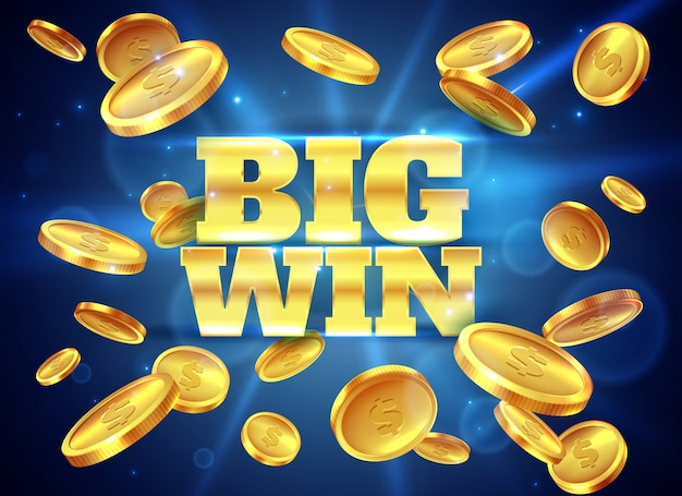 Big win. prize label with gold flying coins, winning game. casino cash money jackpot gambling  abstract background Premium Vector