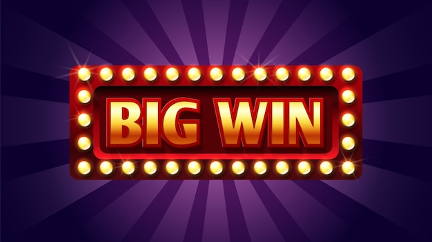 Big win sign. casino or jackpot concept. red and gold congratulation frame with lights. Premium Vector