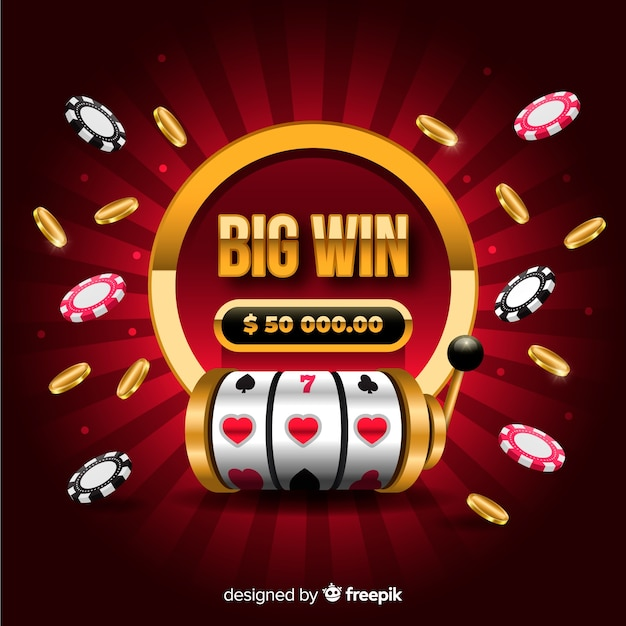 Big win slot concept in realistic style Free Vector