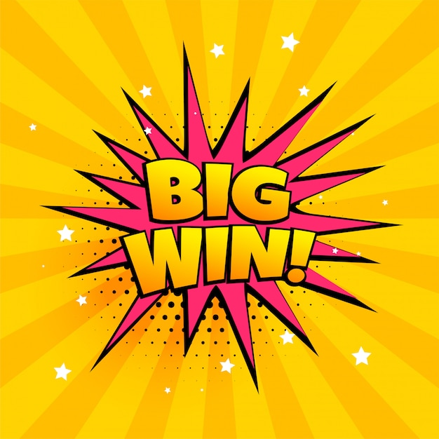 Big win surprise banner in comic style Free Vector