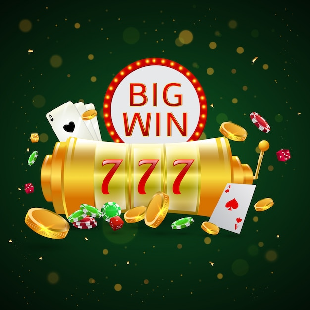 Big win text with roulette wheel. Premium Vector