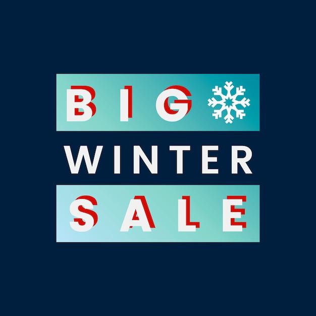 Big winter sale badge vector Free Vector