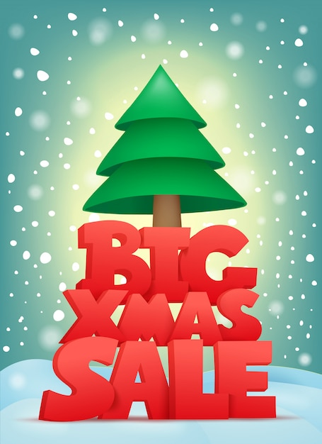 Big xmas sale title text with christmas tree. vector card Premium Vector