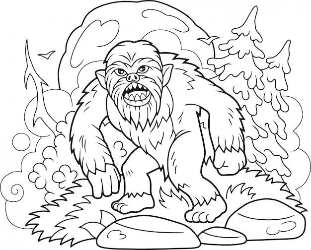 Premium Vector Bigfoot Coloring Book