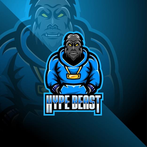 Bigfoot esport талисман дизайн логотипа Premium векторы
