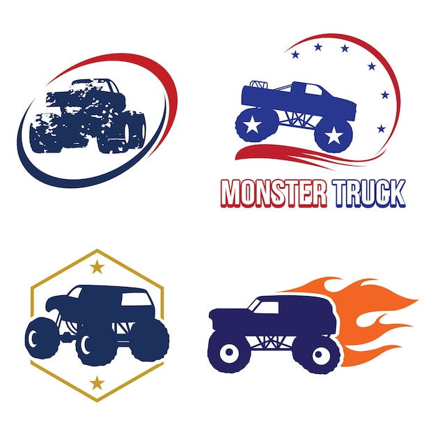 Bigfoot monster truck logo symbol collection Premium Vector