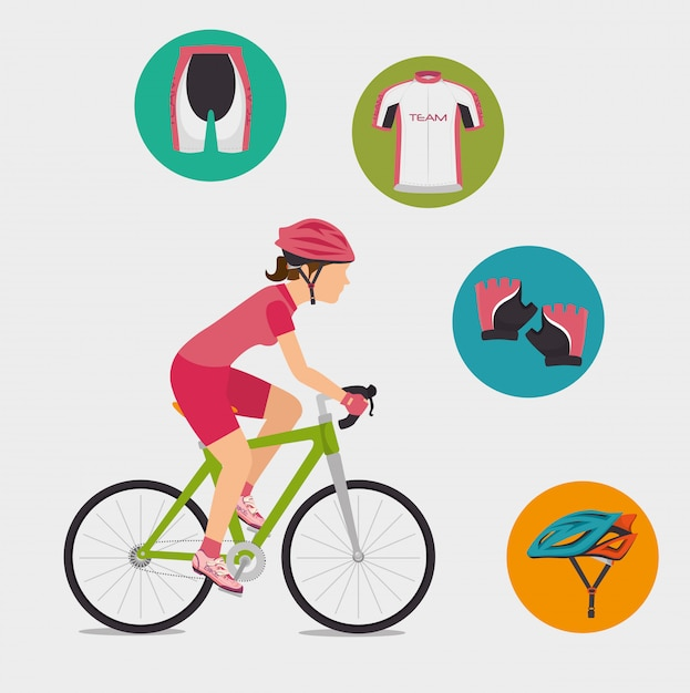 Bike and cyclism graphic design Premium Vector
