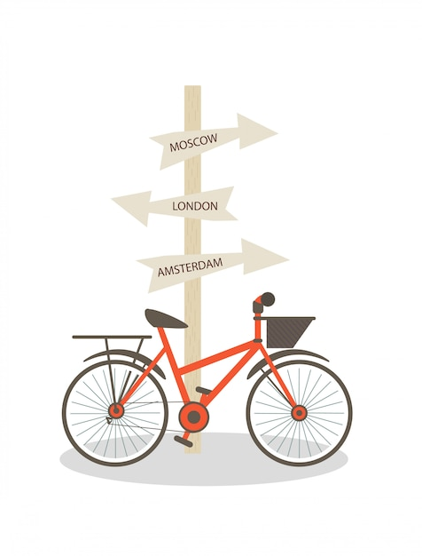 Bike is parked at post with direction signs. Premium Vector
