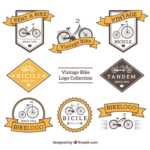 Bike logos collection in vintage style Free Vector