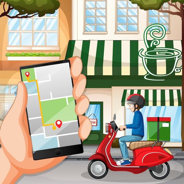 自転車に乗る人や街に乗っている宅配便 無料ベクター