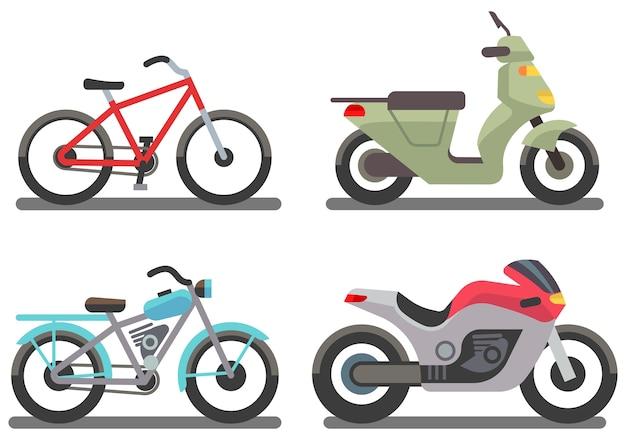 Bike and motorbike vector illustration Premium Vector