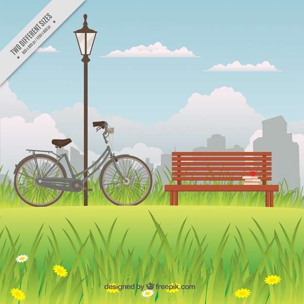 Bike nearby the bench in a park background Free Vector