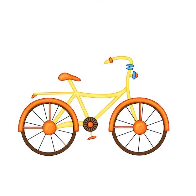 Bike orange-yellow with flowers in basket in cute cartoon style Premium Vector