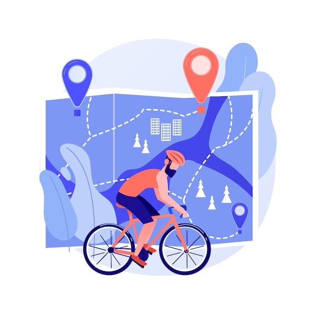 自転車道ネットワーク抽象的な概念図 無料ベクター