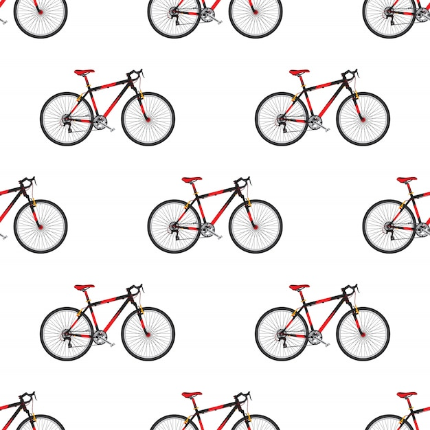 Bike pattern in flat style sport bicycle Premium Vector