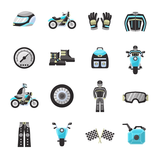 Bike rider flat icons set Free Vector