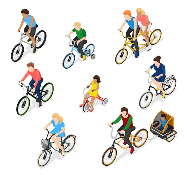 Bike riders character set Free Vector