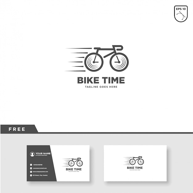 Bike time logo vector and business card template Premium Vector