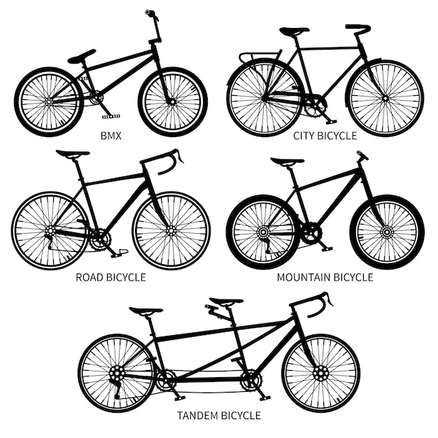 Bike types  black silhouettes, road, mountain, tandem bicycles isolated Premium Vector